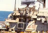 USS Independence island aft from Sea King